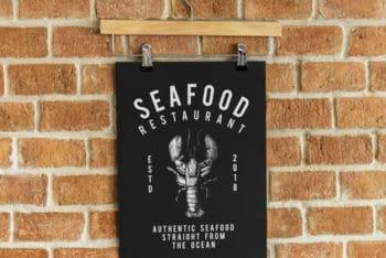 Free Seafood Restaurant Menu Mockup in PSD