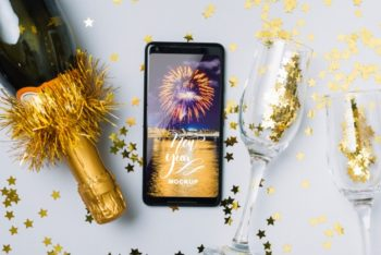Free New Year Celebration Plus Smartphone Mockup