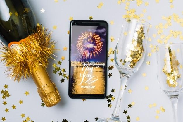 New Year Celebration Plus Smartphone