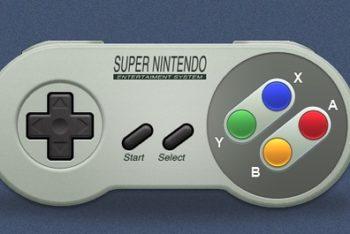 Free Old Nostalgic SNES Controller Mockup in PSD