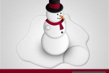 Free Melting Snowman Design Mockup in PSD