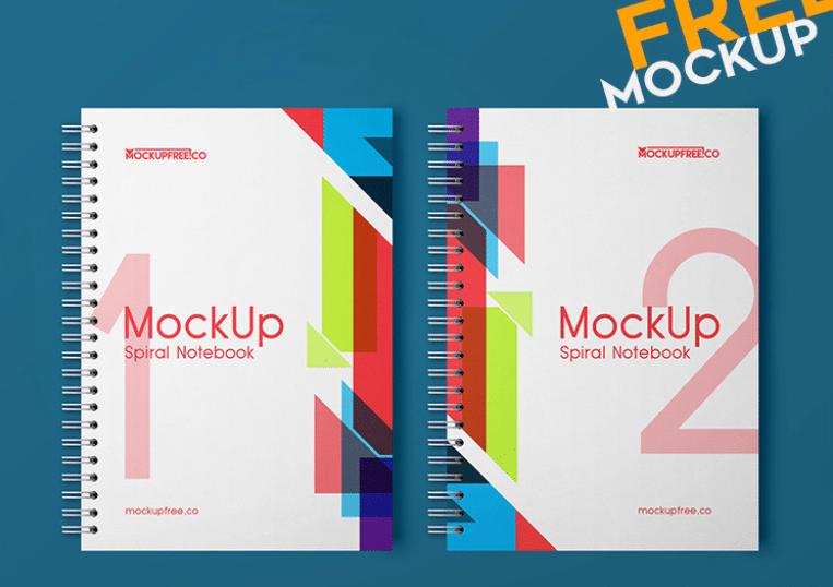 Free PSD Mockup for Spiral Notebook design