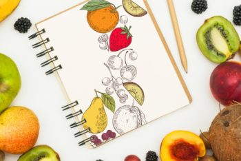 Free Fruity Spiral Notebook Mockup in PSD