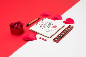 Free Lovely Valentine Notebook Mockup in PSD