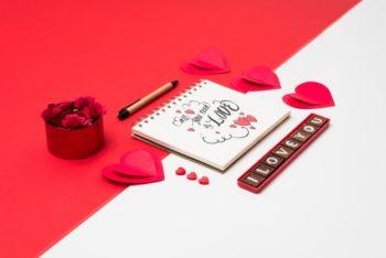 Free Lovely Valentine Notebook Mockup in PSD
