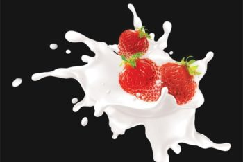 Free Milk Plus Strawberry Blend Mockup in PSD