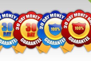 Free Money Back Guarantee Seals Mockup in PSD