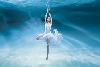 Free Underwater Ballet Plus Girl Mockup in PSD