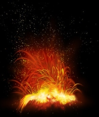 Volcanic Explosion Scene