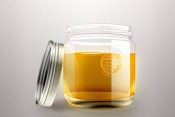 Free Simple Honey Jar Design Mockup in PSD