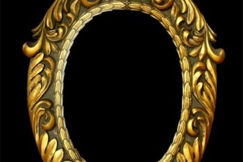 Free Golden European Picture Frame Mockup in PSD