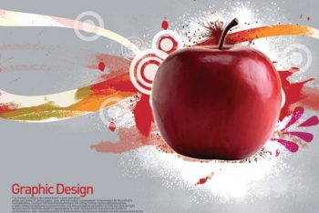 Free Healthy Apple Art Concept Mockup in PSD