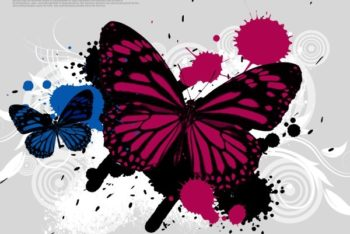 Free Colorful Butterfly Art Mockup in PSD