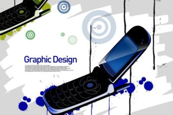 Free Flip Phone Art Concept Mockup in PSD