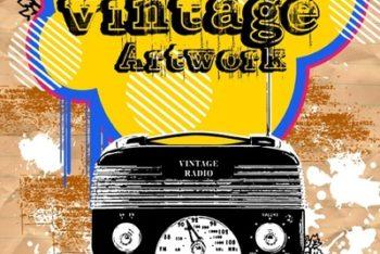 Free Vintage Radio Artwork Mockup in PSD