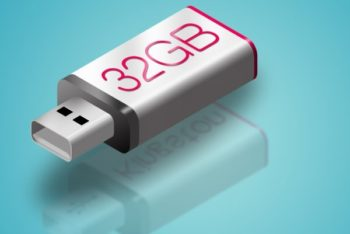 Free Simple Realistic USB Flash Drive Mockup in PSD