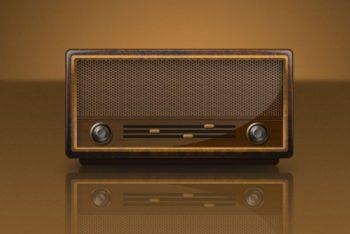Free Obsolete Retro Radio Design Mockup in PSD