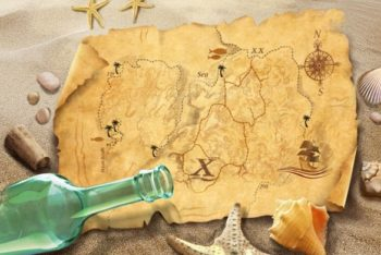 Free Old Stylish Treasure Map Mockup in PSD