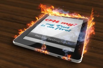Free Burning Tablet Concept Mockup in PSD