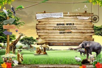 Free Wild Zoo Signboard Design Mockup in PSD