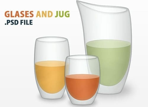 Healthy Juice Glasses Vector