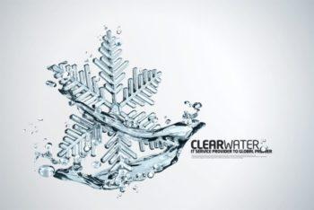 Free Clear Beautiful Snowflake Mockup in PSD