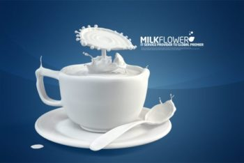 Free Creative Milk Art Concept Mockup in PSD