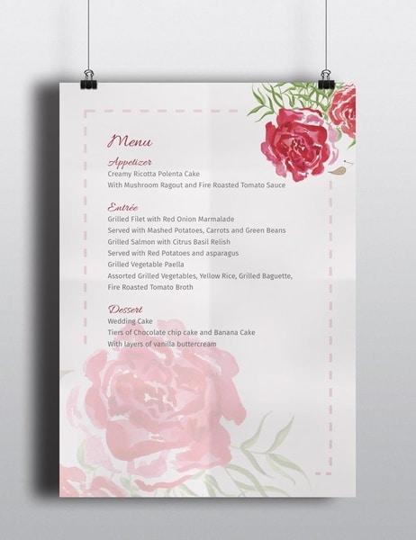 Wedding Menu PSD Mockup