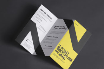 Z-fold Brochure PSD Mockup for Free
