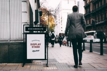 Outdoor Display Stand PSD Mockup for Roadside Advertising