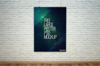 Large Poster PSD Mockup for Showcasing Poster Designs in a Realistic Style