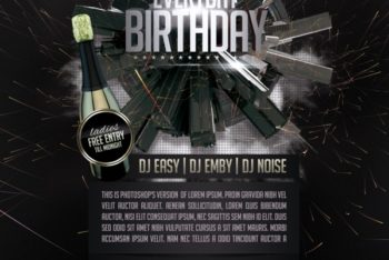 Free Birthday Party Club Flyer Mockup in PSD