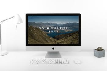 Photorealistic iMac PSD Mockup for Free