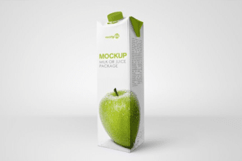 Juice Pack PSD Mockup for Creating Useful Juice & Milk Packaging Designs