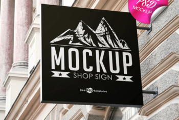 Photorealistic Shop Sign PSD Mockup for Free
