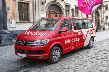 Van Car PSD Mockup for Vehicle Advertising