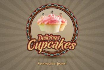 Free Fancy Cupcake Logo Mockup in PSD