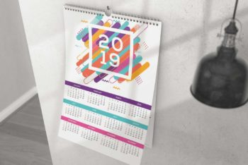 2019 Wall Calendar PSD Mockup for Designing Beautiful Calendars