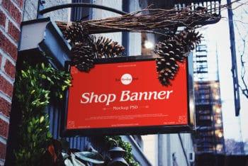 Free Shop Banner PSD Mockup for Designing Impressive Store Banners