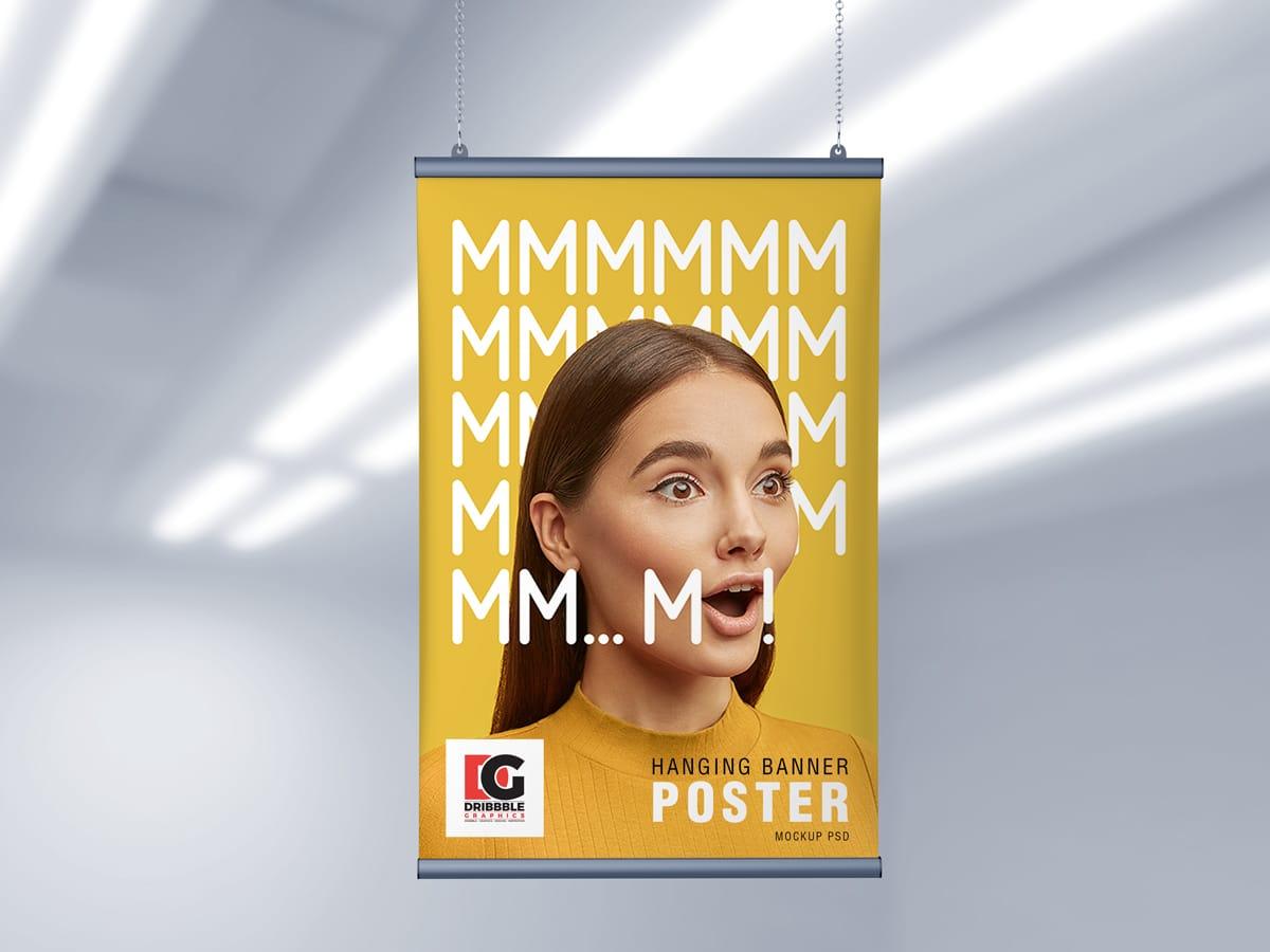 Ceiling Hanging Banner Poster PSD Mockup