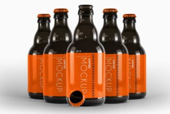 Customizable Beer Bottle Design PSD Mockup