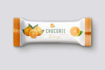 Snack Bar Packaging PSD Mockup for Designing Wonderful Packets of Chocolates & Snack Bars