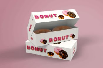 Free Paper Lock Box Packaging PSD Mockup for Packing Doughnuts & Other Food Items