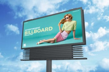 Free Sky Advertisement Billboard PSD Mockup Download