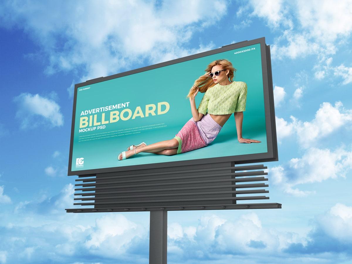 Sky Advertisement Billboard PSD Mockup