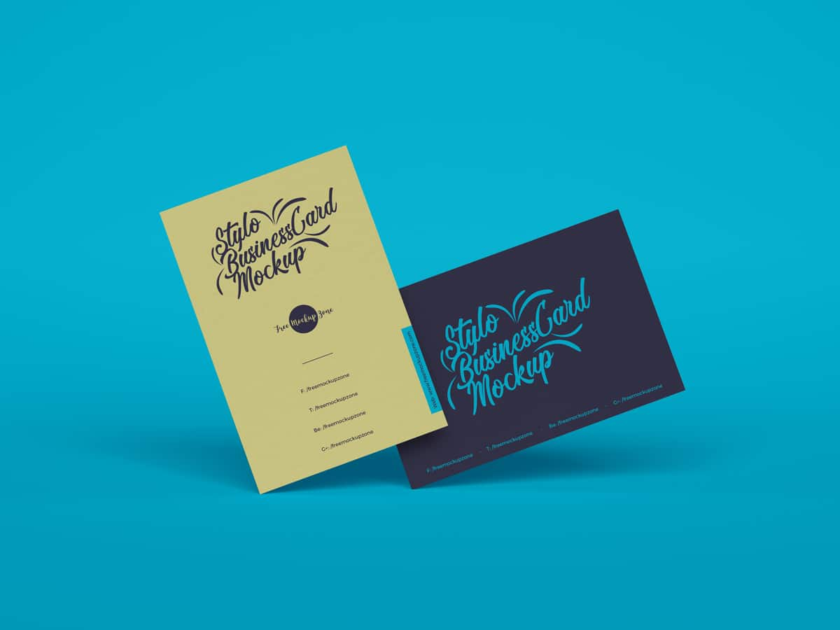 Free Stylo Business Cards Mockup For Branding 2019