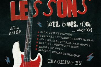 Free Guitar Lessons Flyer Mockup in PSD