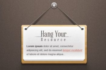 Free Hanging Note Design Mockup in PSD