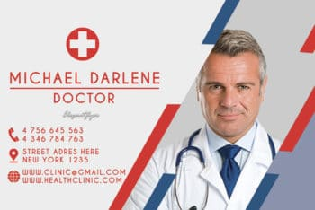 Free Health Clinic Business Card Mockup in PSD