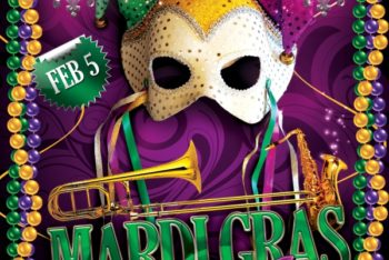 Free Luxurious Mardi Gras Flyer Mockup in PSD